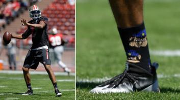 Colin Kaepernick wearing socks that depict police officers as pigs (NBC Bay Area, Ben Margot/AP)